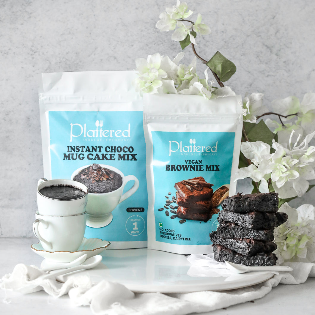 Vegan Brownie Mix + Vegan Choco Mug Cake Mix | EGGLESS