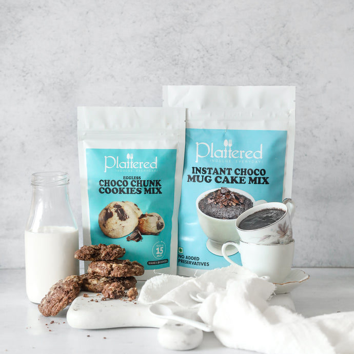 Choco Chunk Cookie Mix + Instant Choco Mug Cake Mix | EGGLESS | Vegan Friendly