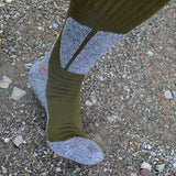 Quality coolmax hiking socks bottom thick knee high long socks army green wear resistant and deodorization socks 39-44