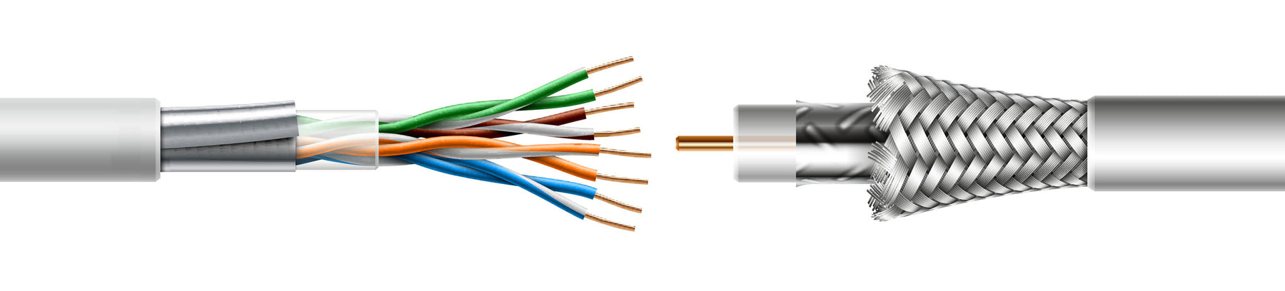 Shielded Ethernet Cable and Coaxial Cable
