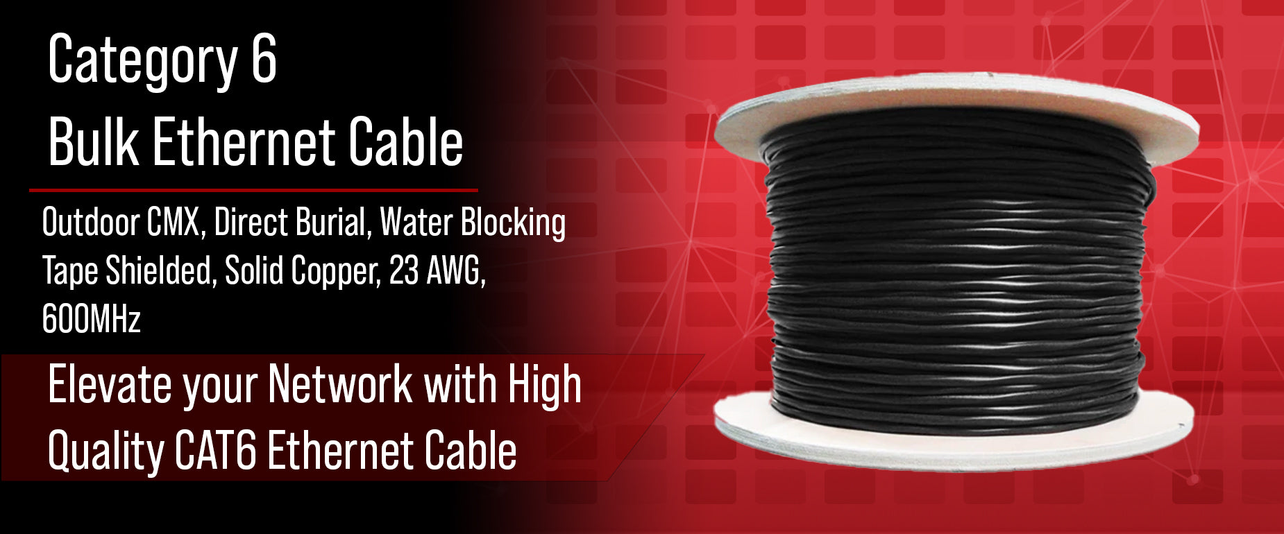 CAT6 Outdoor Direct Burial Cable w/ Water Blocking Gel Tape
