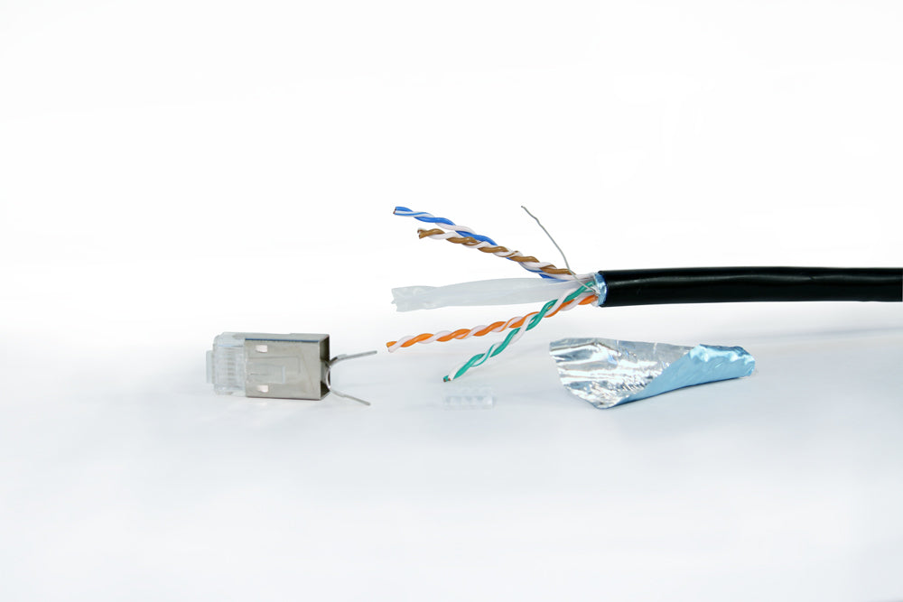 Peel back cable shielding to expose conductors