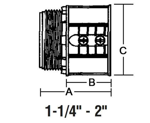 "EMT Set-Screw Connectors Concrete tight, Zinc die-cast - 1-1/4"" to 2"" diagram"