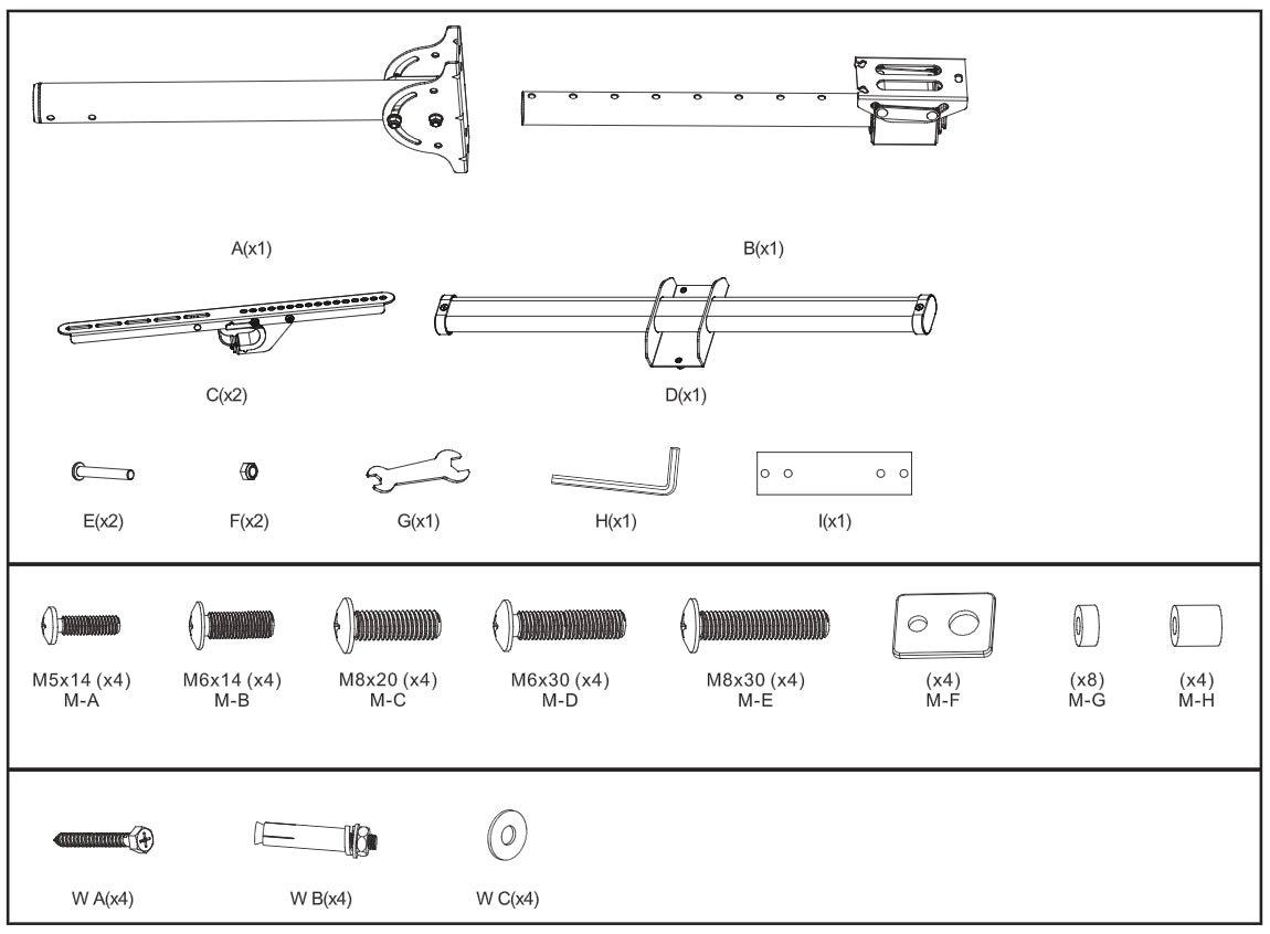 Flat TV Ceiling Mount Product Quantities
