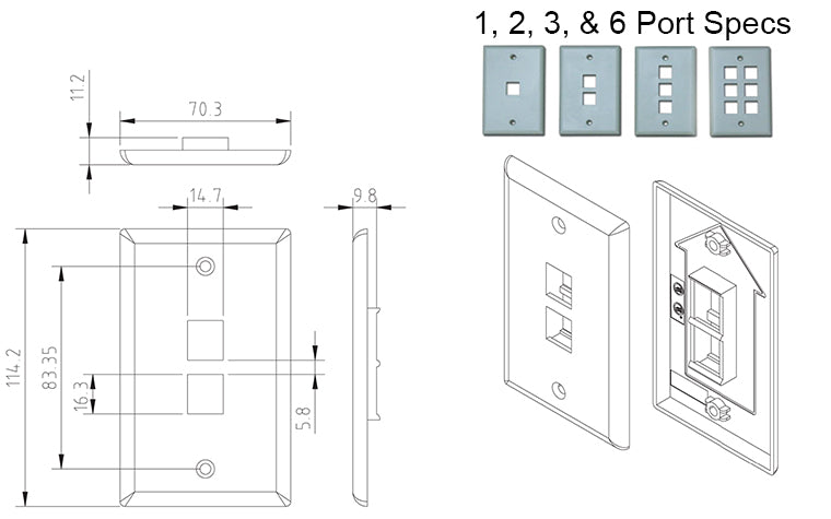 1, 2, 3 & 6 Port Wall Plate Specs