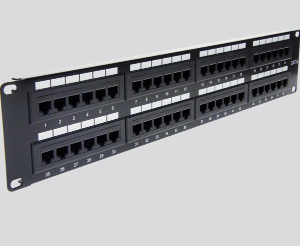 CAT5E Patch Panel, 48 Port, 2U Rack Mount