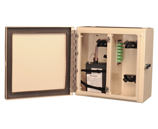 NEMA 4 Rated Fiber Wall Mount Enclosure, 2 Panel & 2 Splice Tray Capacity