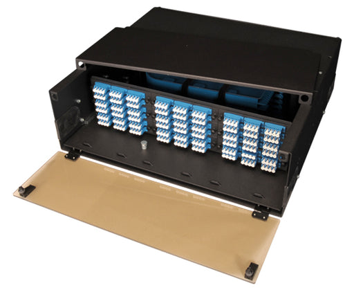 High Density Slide-Out Patch Panel, Rack Mount 3RU, 9 Adapter Panel & 6 Splice Tray Capacity