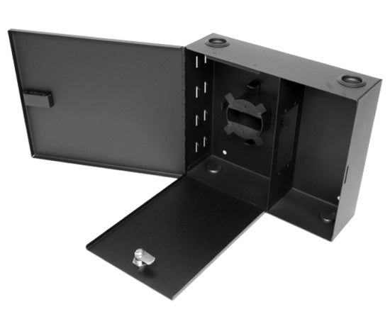 Single Outer Door Fiber Wall Mount Enclosure, 2 Splice Tray & 2 Panel, Black