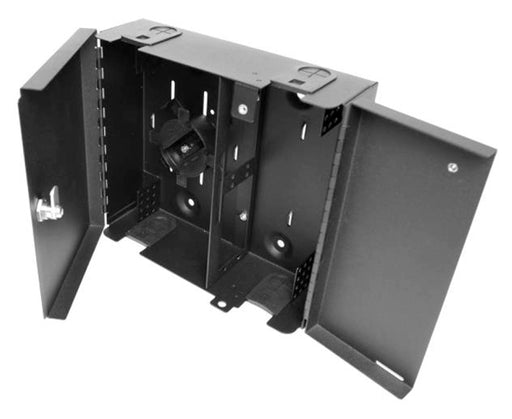 Dual Door Fiber Wall Mount Enclosure, 4 Splice Tray & 4 Panel Capacity, Black