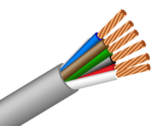 22/6 Alarm-Security/ audio Cable, CMR, Stranded (7 Strand) Unshielded, 500' Gray