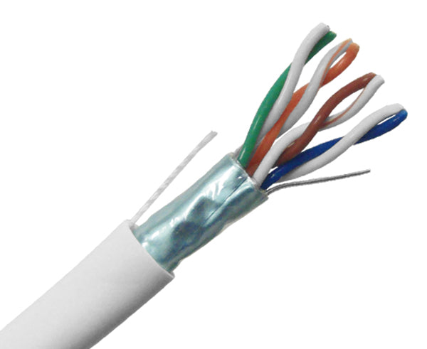 CAT5E Plenum Bulk Ethernet Cable, CMP, Shielded Solid Copper 24 AWG 1000FT