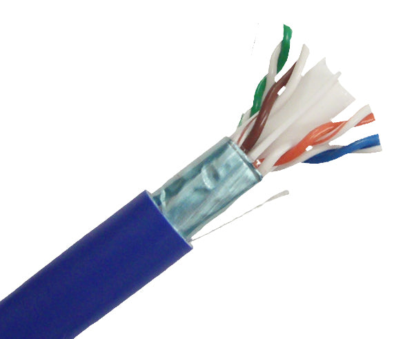 1000ft CAT6 Shielded Plenum Cable, 23AWG Solid Copper - Blue