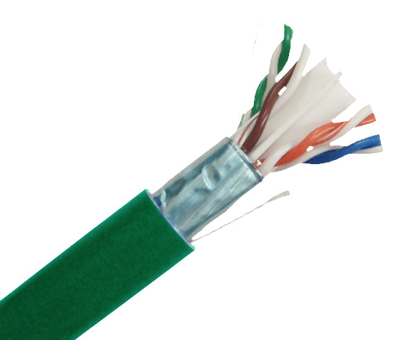 CAT6 Plenum Bulk Ethernet Cable, Shielded CMP, Solid Copper 23 AWG 1000FT