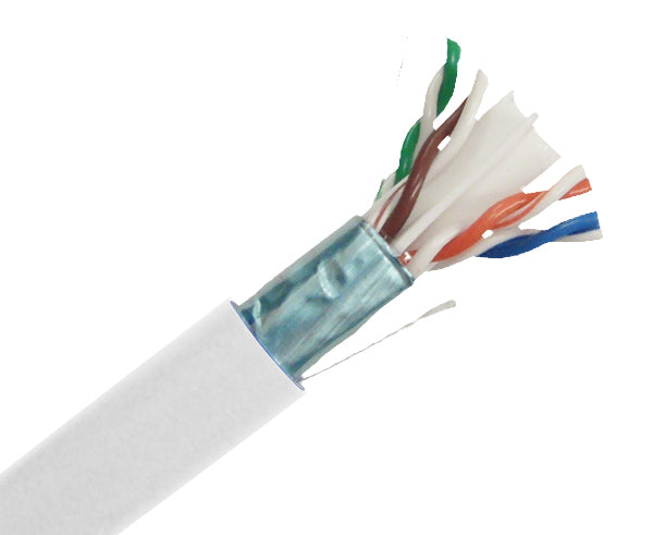 CAT6 Shielded (FTP) CMP, 1000', 23AWG 8/C Solid-Bare Copper, Wooden Spool (ETL) - White