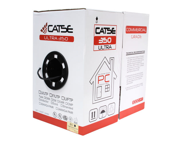 CAT5E Riser Bulk Ethernet Cable, CMR, UL Listed Shielded Solid Copper, 24 AWG 1000FT