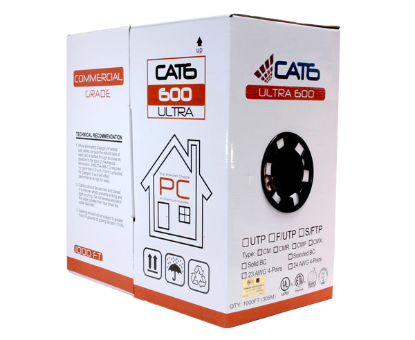 UL Listed LAN 1000 FT. White 1000 Ft Pure Copper Cat 6 Internet Cable Maximm Cat6 Ethernet Cable Utp Network RJ45