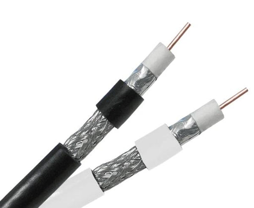 RG6 Coaxial Cable, Dual Shielded, 18 AWG CCS, 60% AL Braid, 1,000'/500', Black or White