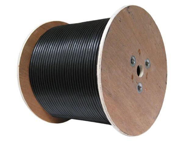 Coaxial Cable, RG6 Cable, 18 AWG, Direct Burial, CCS 60% AL Dual Shield, Black, 1,000ft