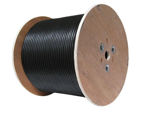 RG59 Siamese, 1000', Wooden Spool, Black, (1) 20AWG Bare Copper Coaxial Cable with 95% Bare Copper Braid