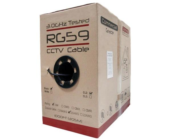 1,000 Foot Pull Box of 20AWG RG59 Coaxial Cable, Bare Copper