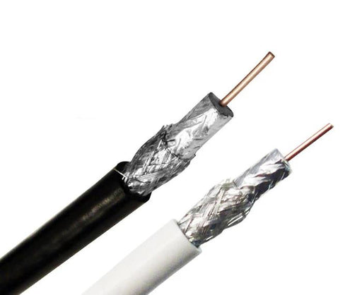 RG6 Coaxial Cable, Dual Shielded, 18 AWG CMR, BC, 60% AL Braid, 1,000ft, Black or White