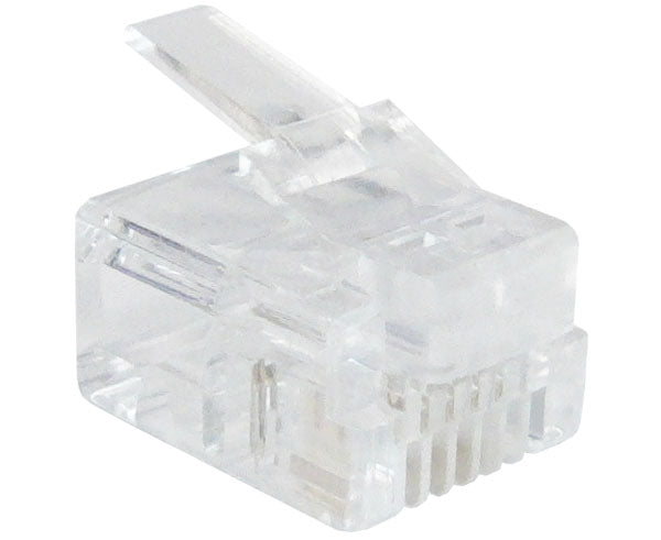 Modular Plug, RJ11 Plug, 6 Position, 4 Conductor, For Round Solid and Stranded Wires