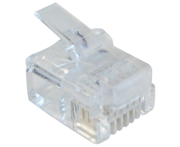 Modular Plugs, RJ12 Plug, 6 Position, 6 Conductor, For Round Solid or Stranded Wire