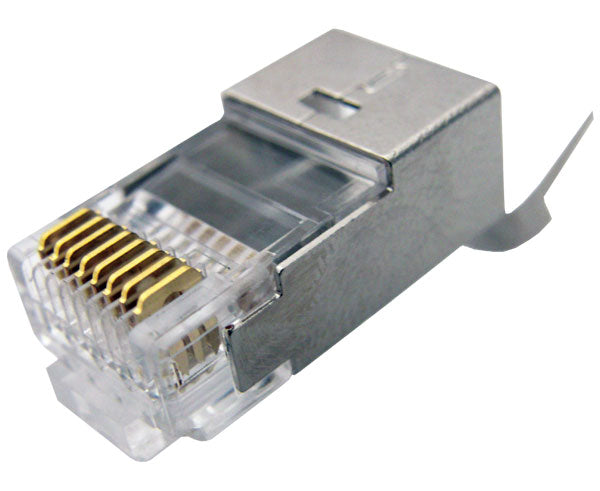 Cat6, Cat6A & Cat7 8x8 Shielded RJ45 Modular Plug, 3 Prong, for Round Solid/Stranded Cable (UL)