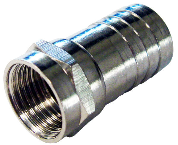 F-Type RG6 Hex Crimp-On Connector, Attached O-Ring