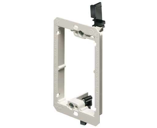 Single Gang Low Profile Non-Metallic Drywall Mud-Ring Mounting Bracket, White