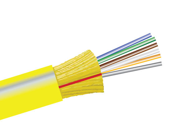 Fiber Optic Cable, 6 Strand, Single Mode, 9/125, Indoor Distribution, Riser