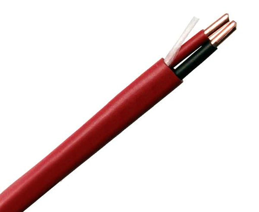 Fire Alarm Cable, Plenum (FPLP), <strong>18/2 AWG Solid Bare Copper Conductors, Red Jacket, 1000 Feet