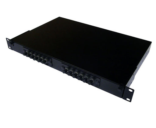 Fiber Patch Panel, 12 Port Loaded ST Simplex, Rackmount, Black