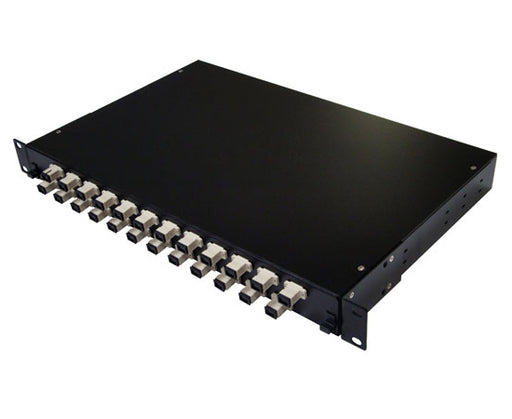 Fiber Patch Panel, 24 Port Loaded SC Simplex, Rackmount, Black