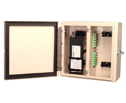 NEMA 4 Rated Fiber Wall Mount Enclosure, 4 Panel & 4 Splice Tray Capacity, Beige