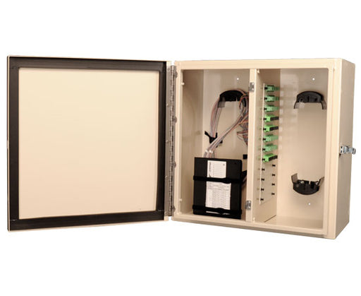 NEMA 4 Rated Fiber Wall Mount Enclosure, 12 Panel & 6 Splice Tray Capacity, Beige