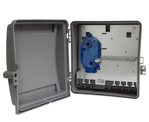 Fiber Wall Mount Enclosure, Indoor/Outdoor, 2 Adapter Panel & 2 Splice Tray Capacity, 1 Splice Tray Included
