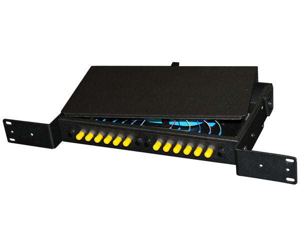Fiber Patch and Splice Panel, Fixed Top-Load, 1U, 2 Adapter Panel Capacity