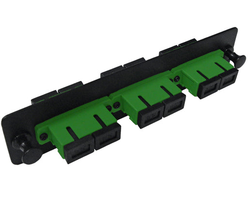 SC/APC Fiber Optic Adapter Plate with 3 Duplex Single Mode Adapters