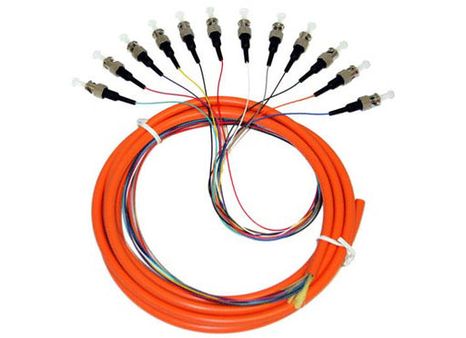 Fiber Optic Pigtails, ST, 12 Strand Jacketed, 3 Meter, Multimode OM1