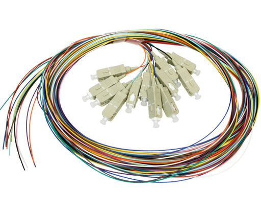 Fiber Pigtail, 2 Meter, SC, 12 Strand Multimode 10 Gig 50/125 OM3, Tight Buffered Without Jacket