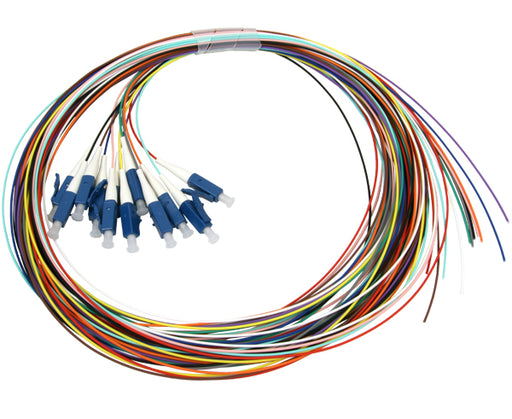 Single-Mode Fiber Pigtails, 12 Strand Jacketed, LC, 2 Meter