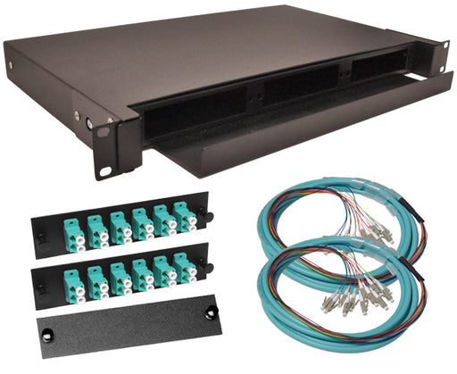 24-Strand Pre-Loaded OM3 10G Multimode LC Slide-Out 1U Fiber Patch Panel with Jacketed Pigtail Bundle