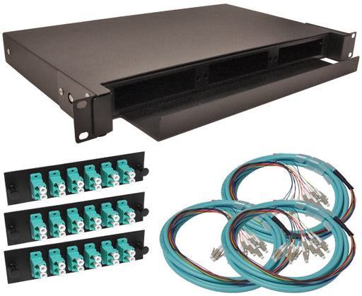 36-Strand Pre-Loaded OM3 10G Multimode LC Slide-Out 1U Fiber Patch Panel with Jacketed Pigtail Bundle
