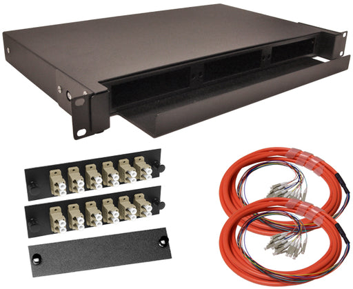 24-Strand Pre-Loaded OM1 Multimode LC Slide-Out 1U Fiber Patch Panel with Jacketed Pigtail Bundle