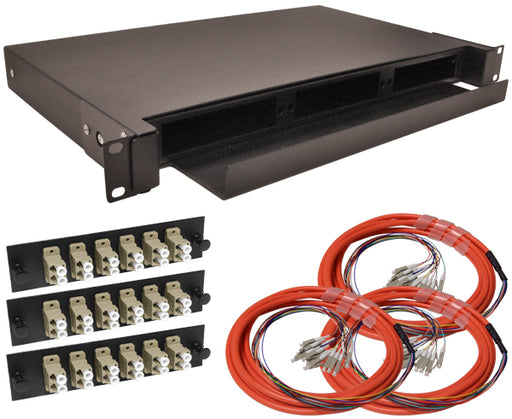 36-Strand Pre-Loaded OM1 Multimode LC Slide-Out 1U Fiber Patch Panel with Jacketed Pigtail Bundle