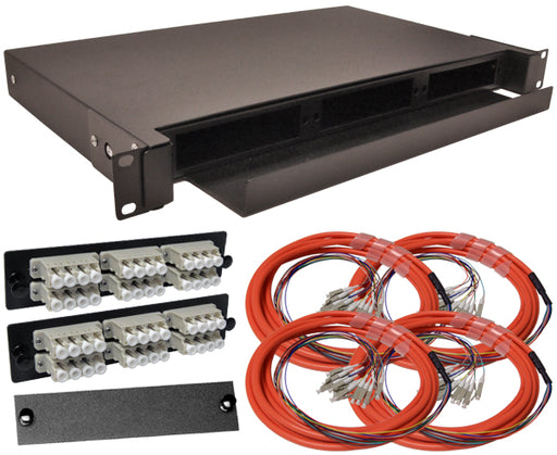 48-Strand Pre-Loaded OM1 Multimode LC Slide-Out 1U Fiber Patch Panel with Jacketed Pigtail Bundle