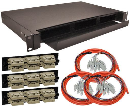 36-Strand Pre-Loaded OM1 Multimode SC Slide-Out 1U Fiber Patch Panel with Jacketed Pigtail Bundle
