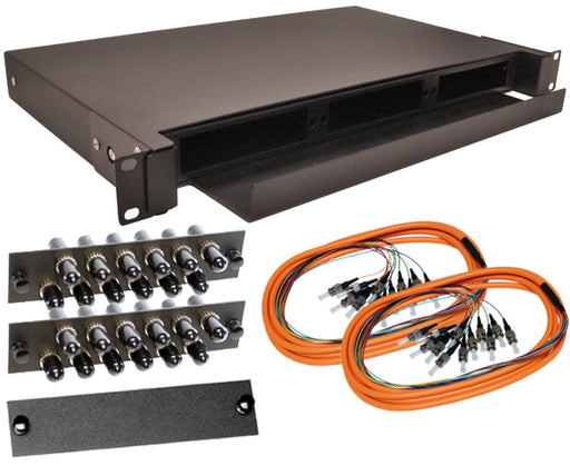 24-Strand Pre-Loaded OM1 Multimode ST Slide-Out 1U Fiber Patch Panel with Jacketed Pigtail Bundle